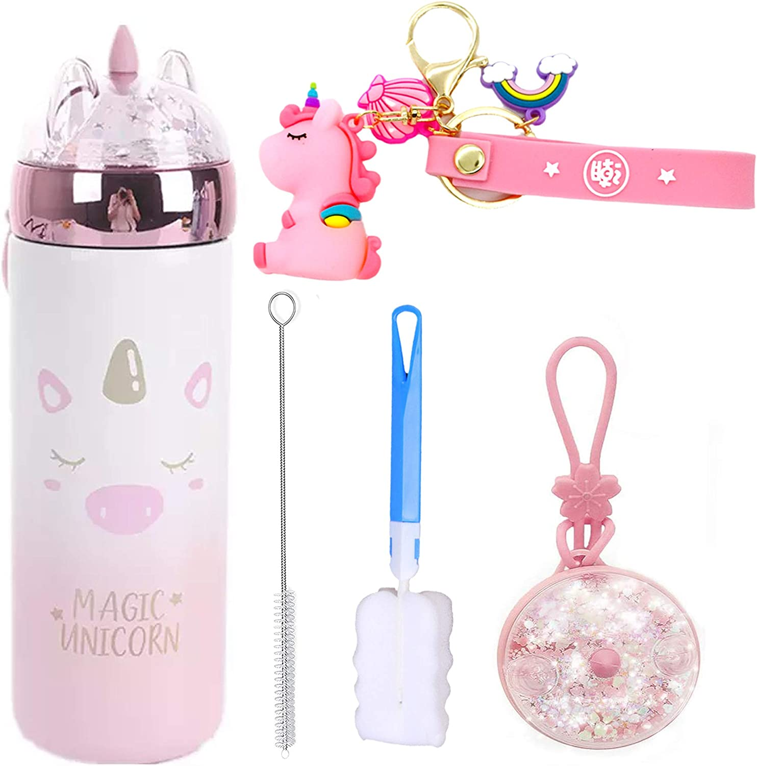 Unicorn Water Bottle Sparkling Glitter Stainless SteelThermos for Hot Drinkings Double Wall Vacuum Thermos Kids Water Bottle Unicorn Gifts for girl BPA Free (A pink unicorn, 330ml)