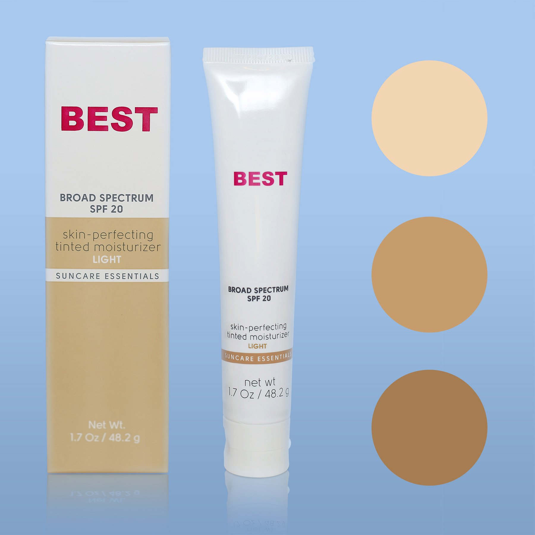 Best Tinted Moisturizer with SPF ~ LIGHT Tinted Broad Spectrum SPF 20 Sunblock for Face ~ Non Comedogenic ~ Paraben and PABA Free ~ Moisturizer + Toner + UVA UVB Protection