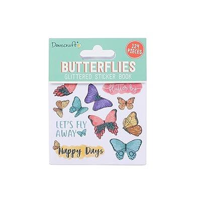 Dovecraft Book-Butterflies-142-Pegatinas con Purpurina para Manualidades, papelería, Diario, Papel, Multicolor, talla única: Hogar