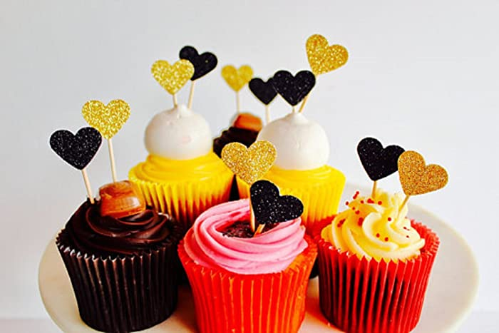 12 Mini Heart Gold & Black Glitter Cup Cake toppers valentines ...