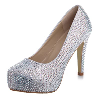 Amazon.com | VELCANS Fashion Rhinestone Womens Platform Pump High ...