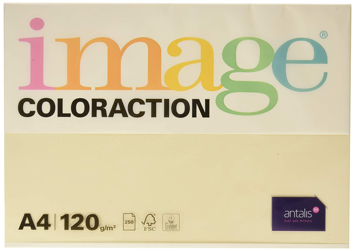 Coloraction Antalis 838A 120S 50-Carta per fotocopie, 250 fogli in formato DIN A4, 120 g/m², Dune, colore: panna