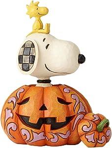 "Enesco Peanuts by Jim Shore Snoopy and Woodstock in Pumpkin Figurine 7.01"" Multicolor"