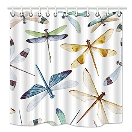NYMB Dragonfly Shower Curtain Colorful Patterns And Spots On Wings Of Insect Mildew Resistant