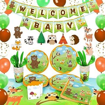 WERNNSAI Decoraciones para Fiestas Baby Shower de Animales del Bosque - Suministros para Fiestas Pancartas Globos Manteles Centros de Mesa Platos Tazas Servilletas Utensilios Sirve 16 Invitados: Amazon.es: Juguetes y juegos