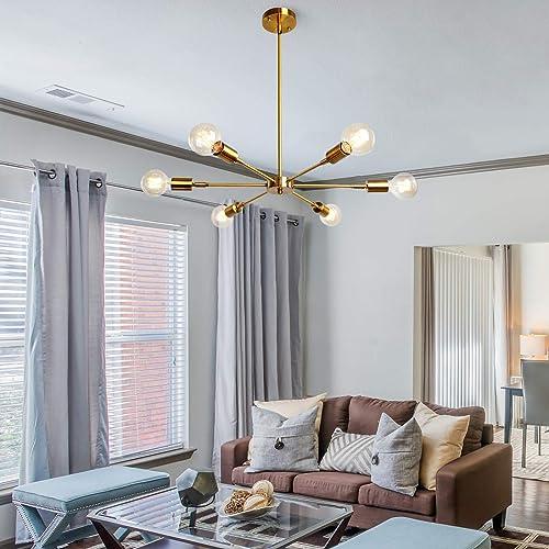 PUZHI HOME Sputnik Chandelier 6 Lights Gold Chandelier Modern Pendant Lighting Brass Flush Mount Hanging Lamp