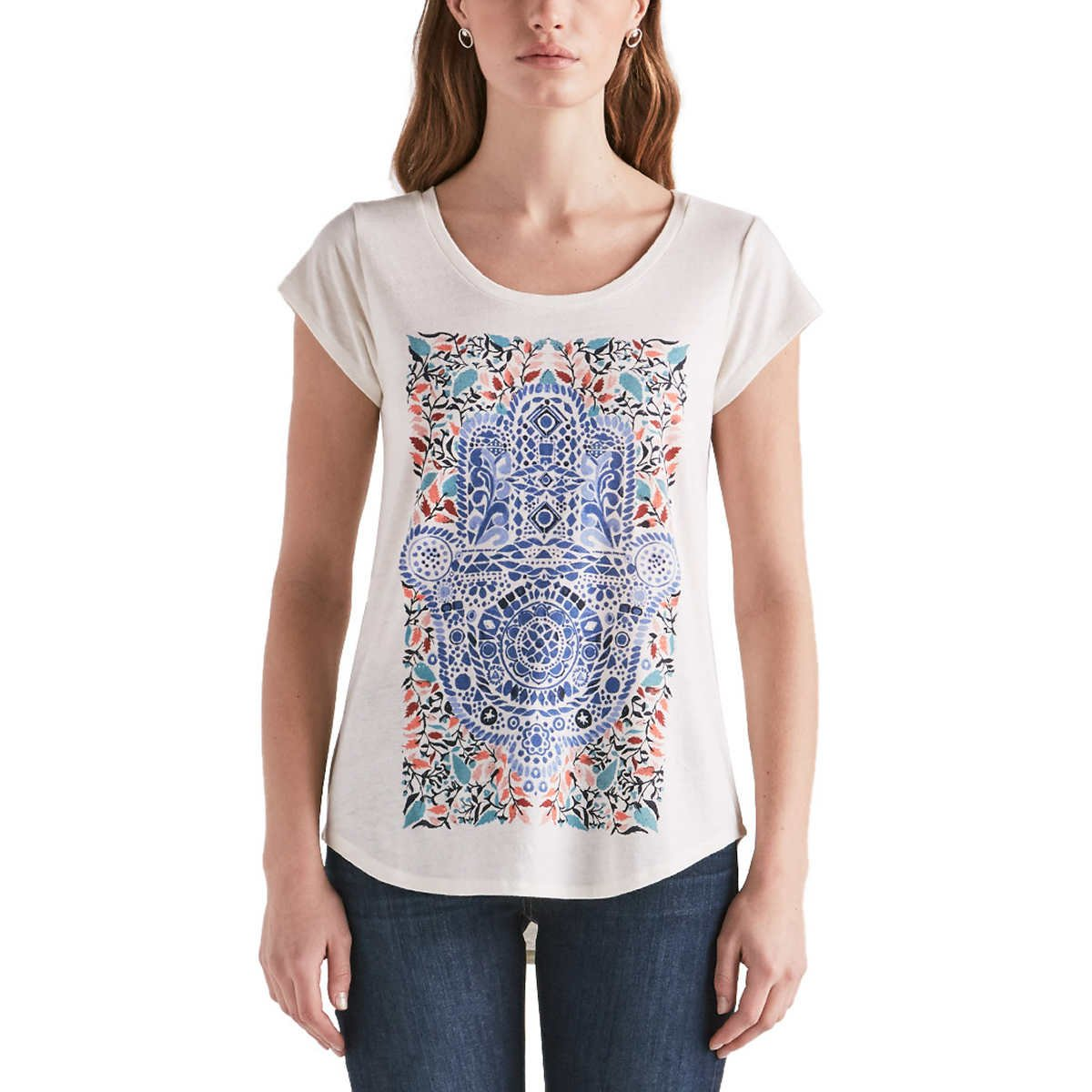 Lucky Brand Ladies Graphic Tee (Large, White Tribal Graphic Print)