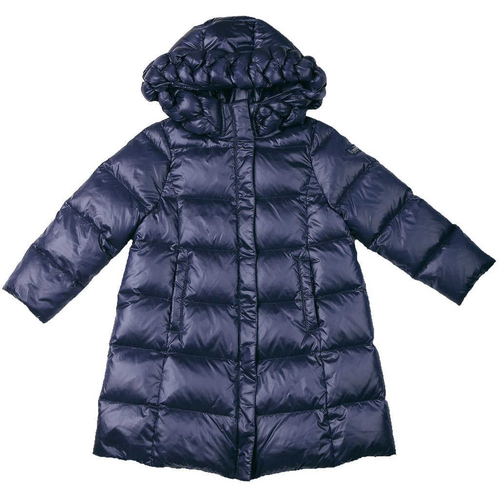 Oceankids Little Girl's Navy Blue Zip Closure Hooded Puffer Bubble Down Coat 2 Years