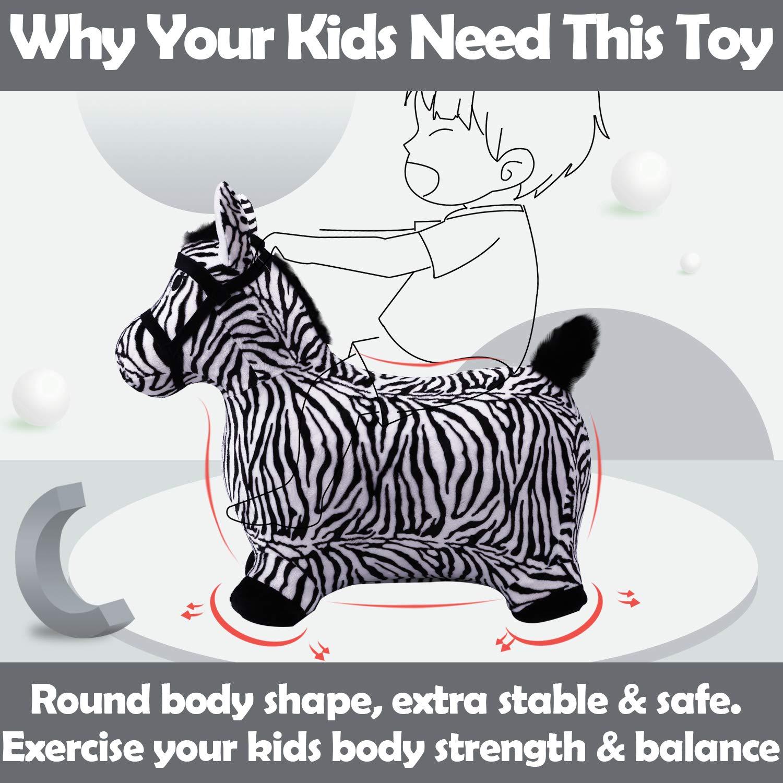 iPlay, iLearn Zebra Bouncy Animal, Hopping Horse, Inflatable Hopper, Indoor Outdoors Kindergarten Ride On Toy, Birthday Activities Gift for 2, 3, 4, 5 Year Old Kids Preschool Toddlers Boys Girls by iPlay, iLearn (Image #3)