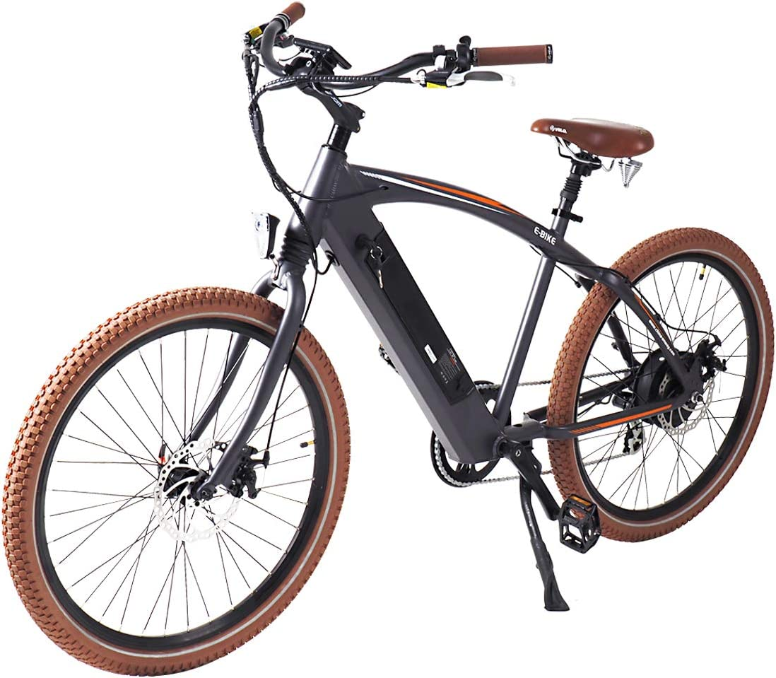 ONWAY 36v Ebike 26 Inch 500w Fat Beach Electric Cruiser Bike with LCD Display for Men