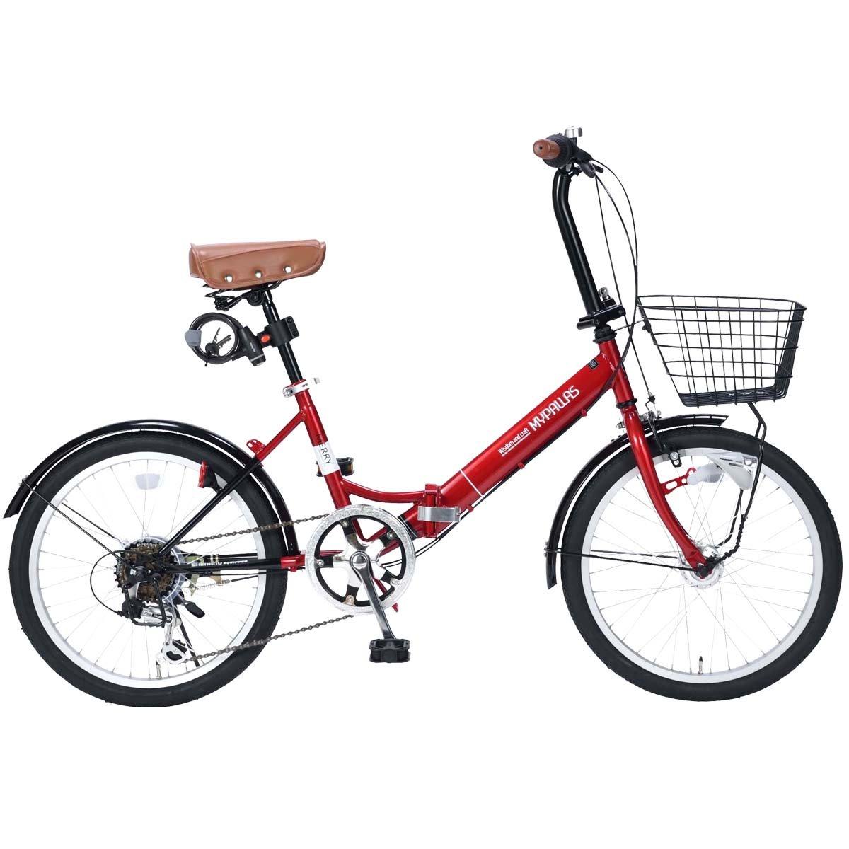 My Pallas(マイパラス) 折畳自転車20インチシマノ6段ギアLEDオートライトカゴ付カギ付低床フレーム M-204MERRY B078981N9F レッド レッド