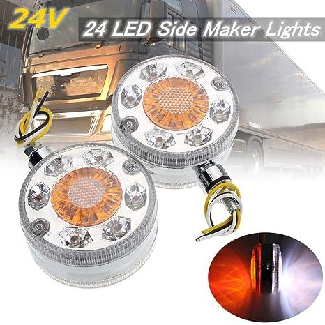Sala-Store - 2pcs Chrome Red White Amber 24 LED Side Maker