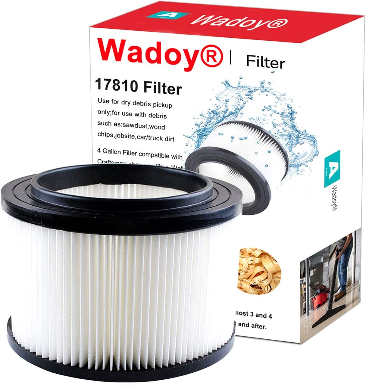 Wadoy 17810 Filter Compatible with Craftsman Shop Vac 9-17810 Wet Dry Vacuum Filter Compatible with Craftsman 4 GallonReplacement Filter