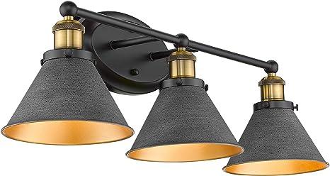 Osimir Farmhouse Bathroom Vanity Light Fixtures 3 Light Bathroom Light Fixtures In Stone Black Cones Shade 27 Inch Lager Bathroom Lights Over Mirror Wl9172 3 Amazon Com