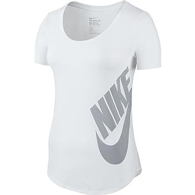 c2395dc852e7 Nike T-Shirt Futura Scoop Femme Blanc Gris Loup 804130-100 (Taille ...