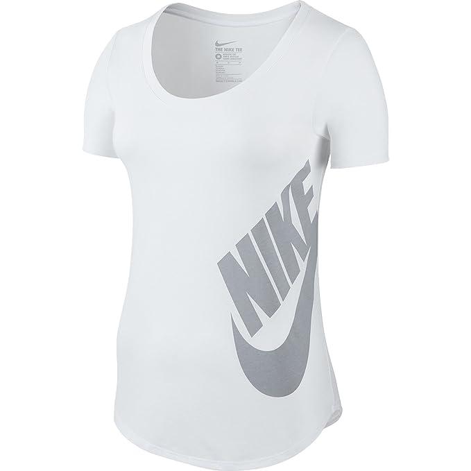 Camiseta Nike Futura Scoop para mujer blanca / gris lobo 804130-100 (talla XS