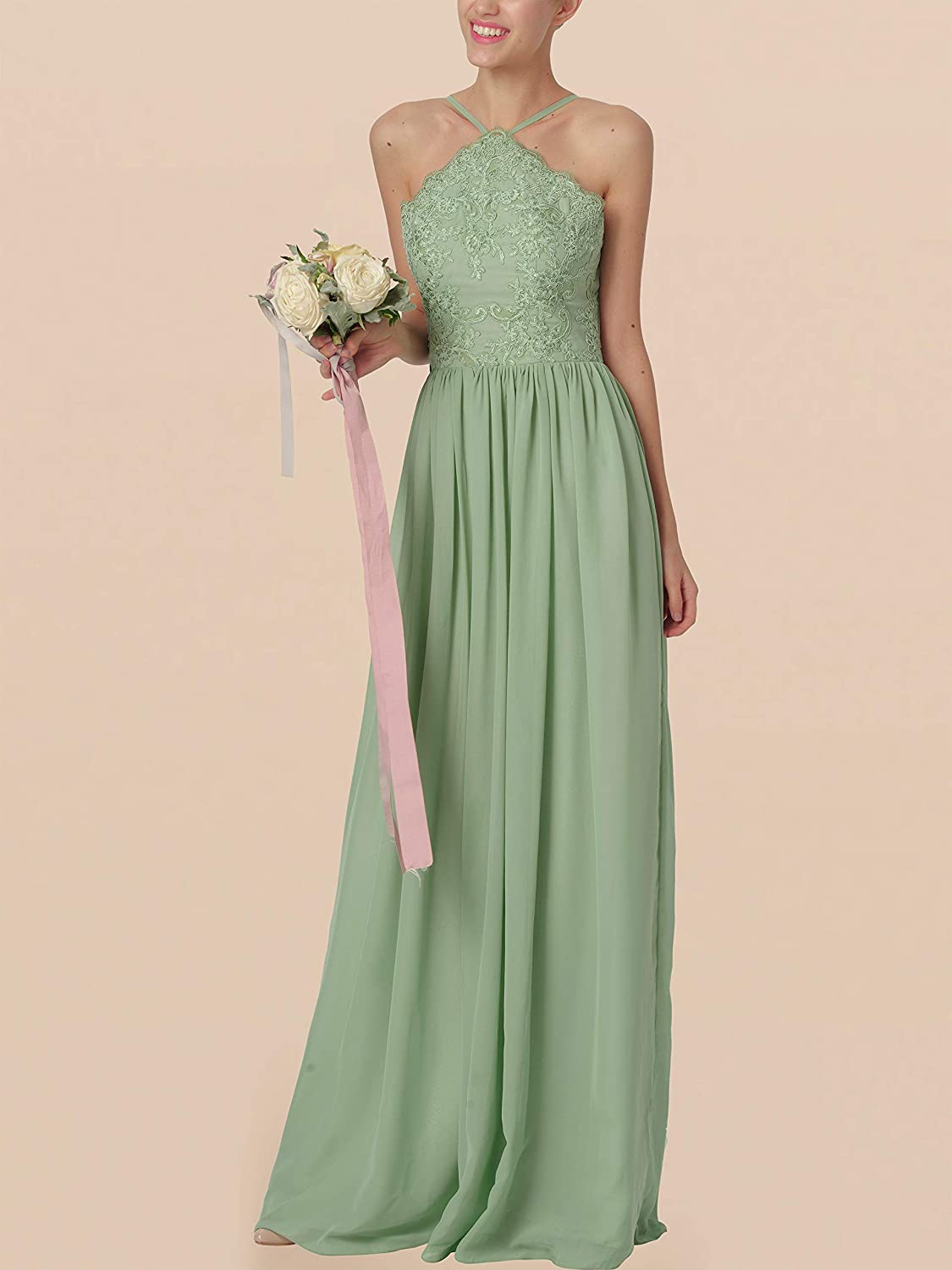 Womens Halter Lace Bodice Bridesmaid Dresses Long Chiffon Formal Wedding Evening Gowns