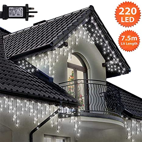 Icicle Lights 220 LED 7.5m Bright/Cool White Outdoor ... on
