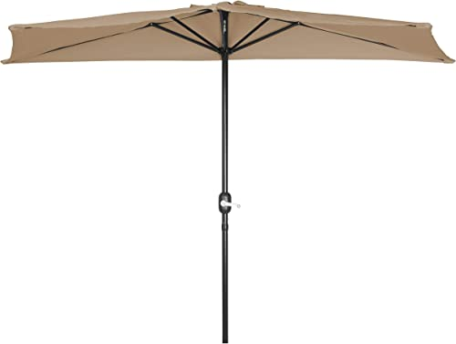 Trademark Innovations PATUMB Patio Half Umbrella-9 Diameter- Tan