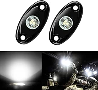 2 Pods LED Rock Lights, Ampper Waterproof LED Neon Underglow Light for Car Truck ATV UTV SUV Offroad Boat Underbody Glow Trail Rig Lamp (White)