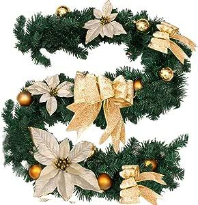 Surfmalleu Guirnaldas de Navidad Artificial Decoración Navideña ...