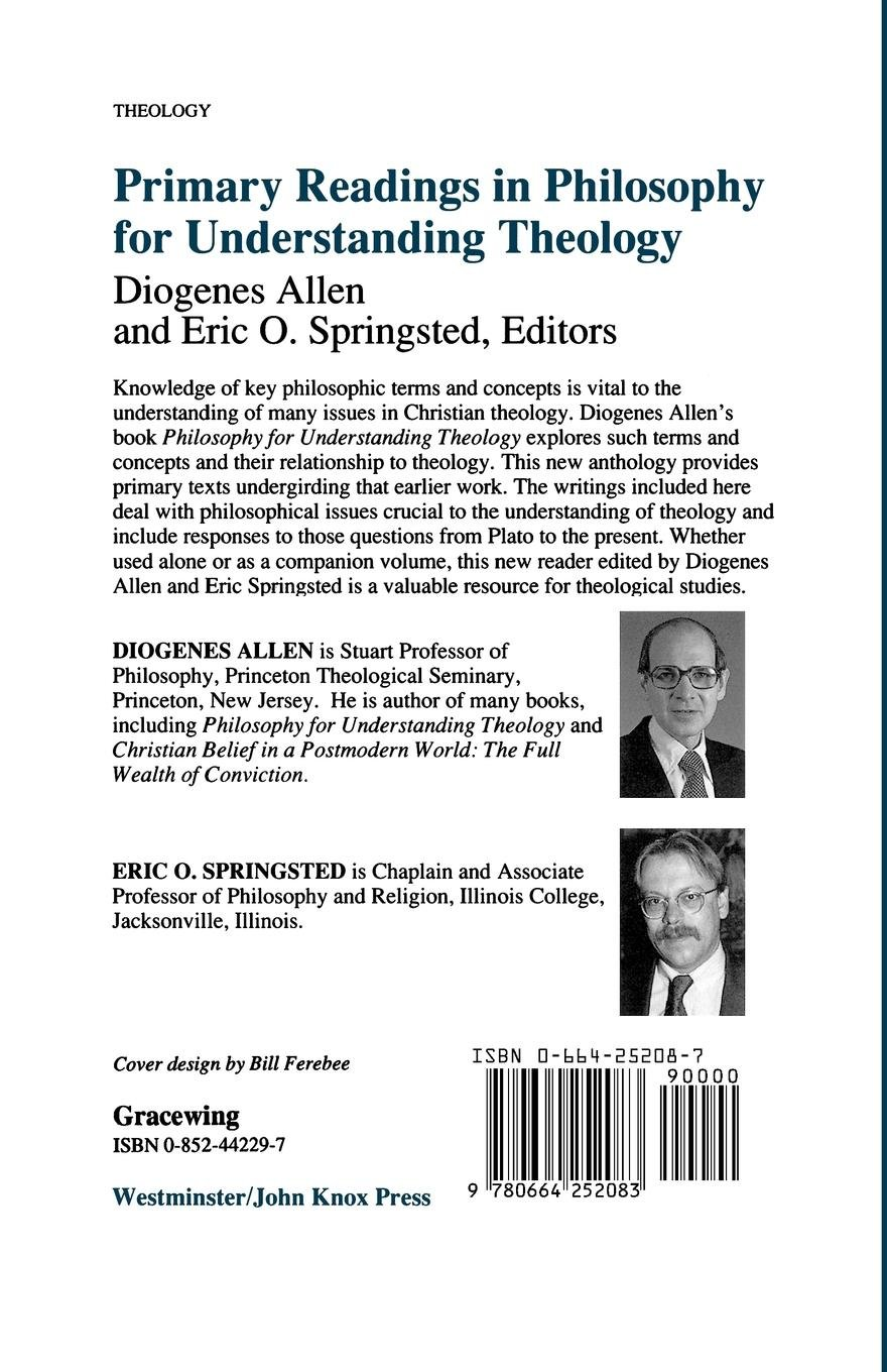 Primary Readings in Philosophy for Understanding Theology: Diogenes Allen,  Eric O. Springsted: 9780664252083: Amazon.com: Books