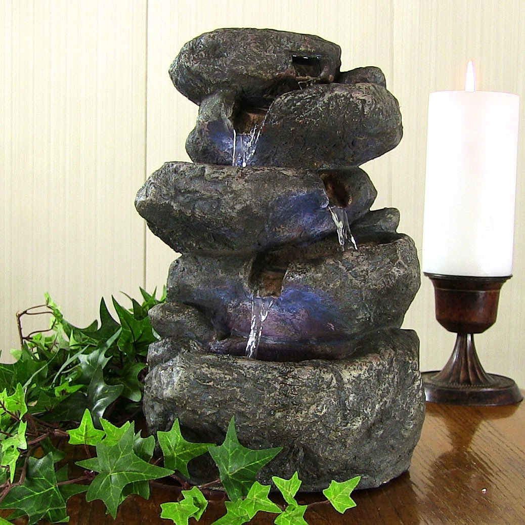 Amazoncom Sunnydaze Stacked Rocks Tabletop Water Fountain with