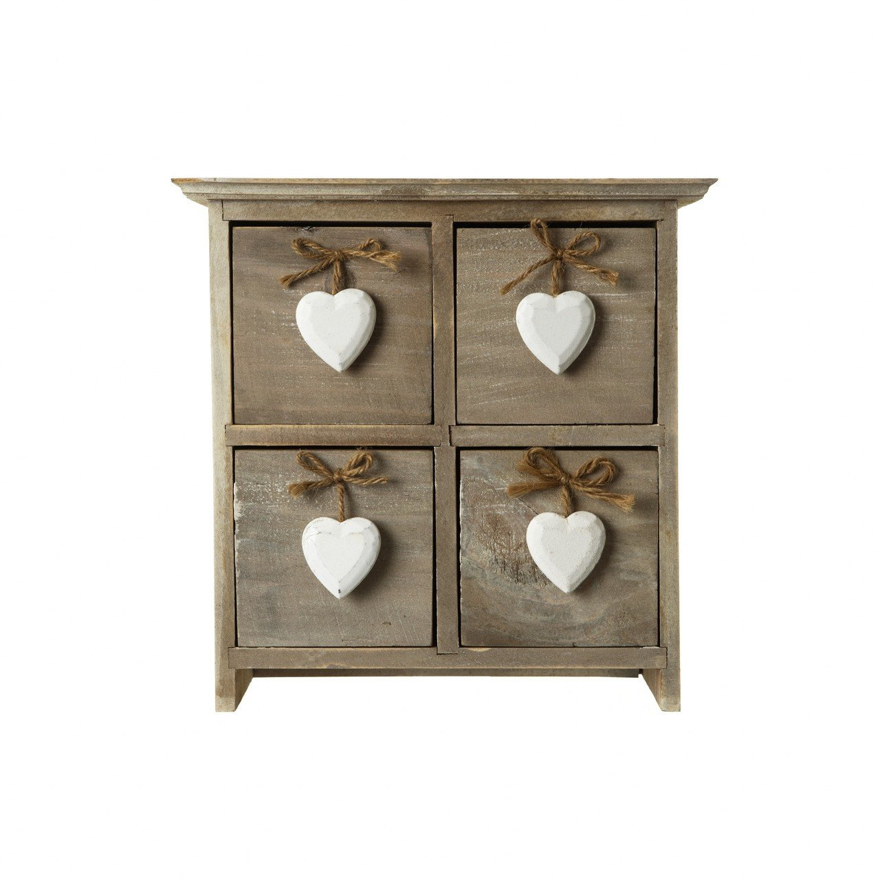 Chic /& Shabby Wooden 4 Drawer Cabinet Storage Chest White Hanging Hearts Handles BYZ060