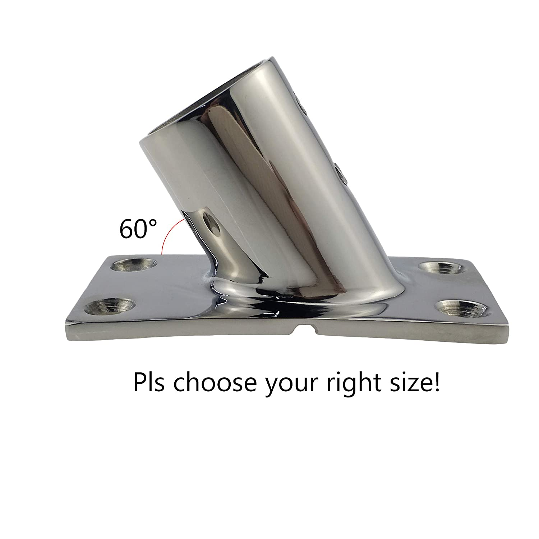 Heavy DudyBoat Hand Rail Fitting-30 Degree 7//8 inch Rectangular Base-Marine 316 Stainless Steel Deck Hardware