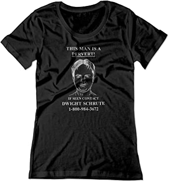 cf0fc9f31 BSW Women's Dwight Schrute Pervert The Office TV Show Funny Shirt XS Black
