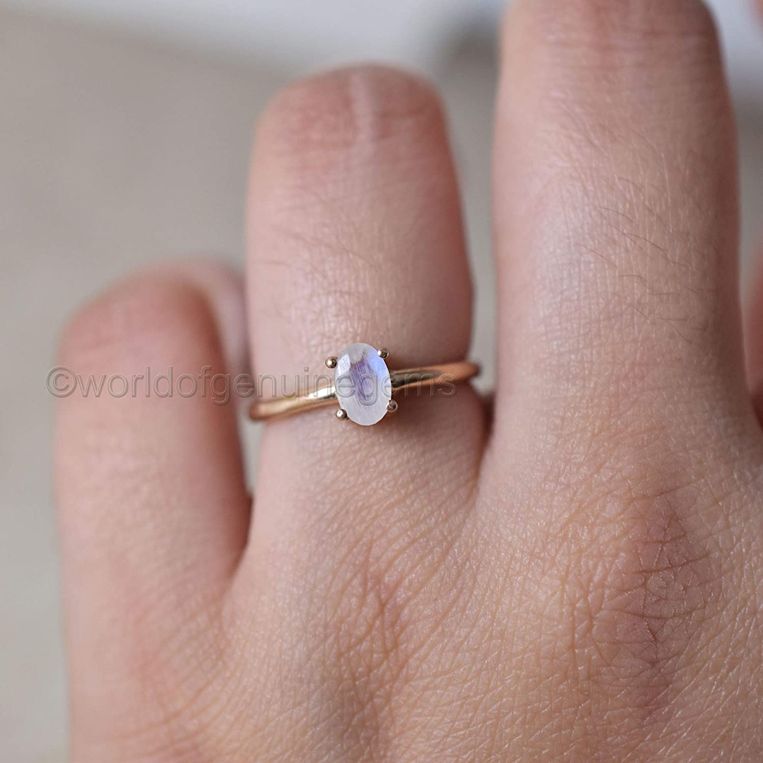 37e5bcc23 rainbow moonstone ring, rose gold plating ring, stacking ring, 925 sterling  silver, dainty ring, promise ring, girls wear ring, purpose ring, ...