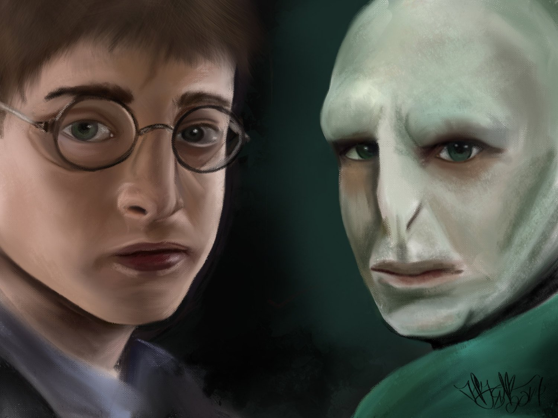 Amazon Com Fan Art Wall Art Wall Decor Harry Potter Art Versus Good And Evil Voldemort And Harry Potter Digital Painting Handmade