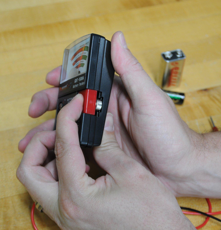 Gardner Bender GBT-500A Analog 1.5 V Button Cell/22.5 Photo/AA/AAA/12 V/9 V/Lantern Cells & More, Leads Battery Tester, Black by Gardner Bender
