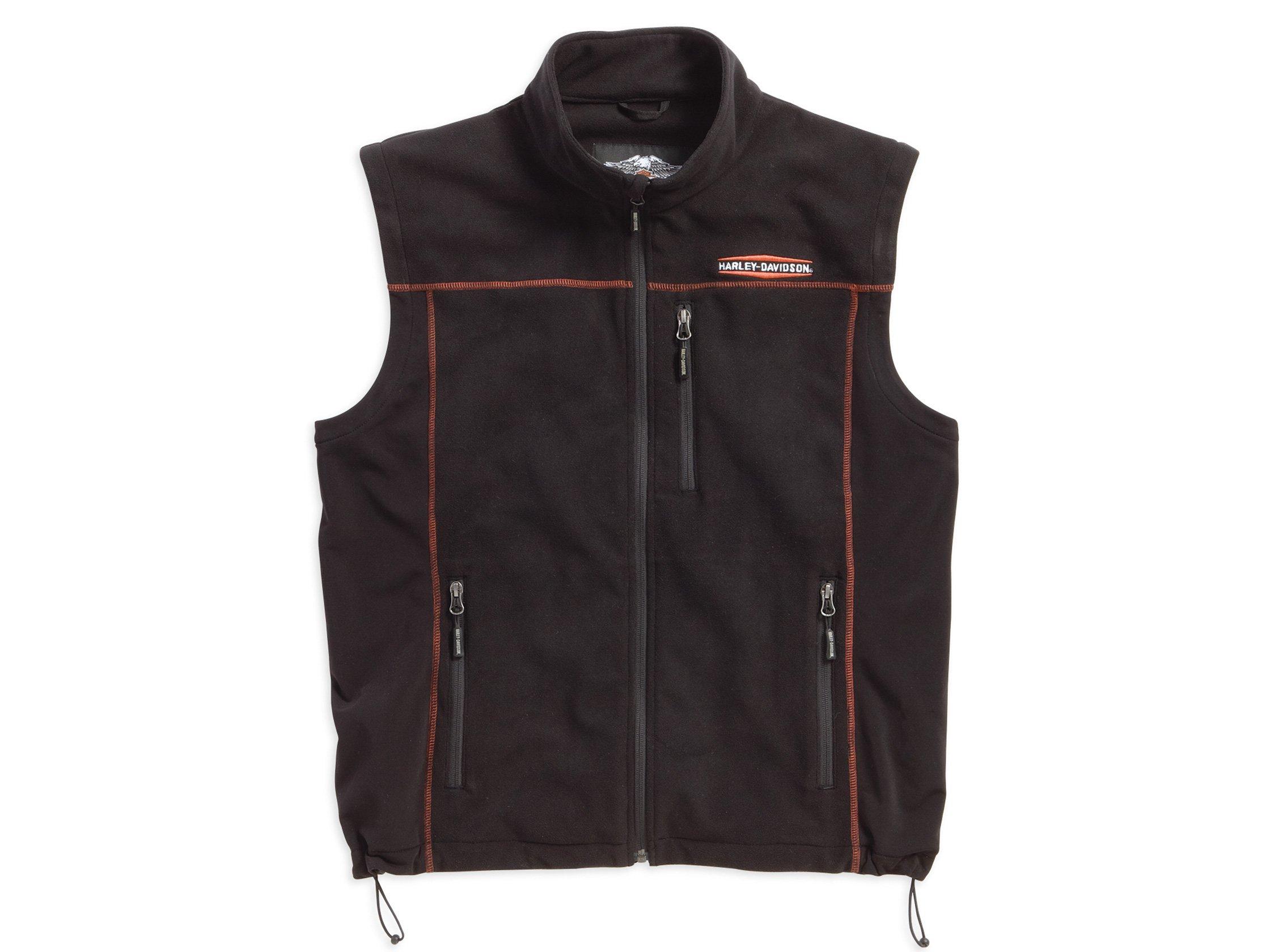 Harley-Davidson Men's Fleece Mid-Layer Vest Windproof, Black. 98567-16VM (S)