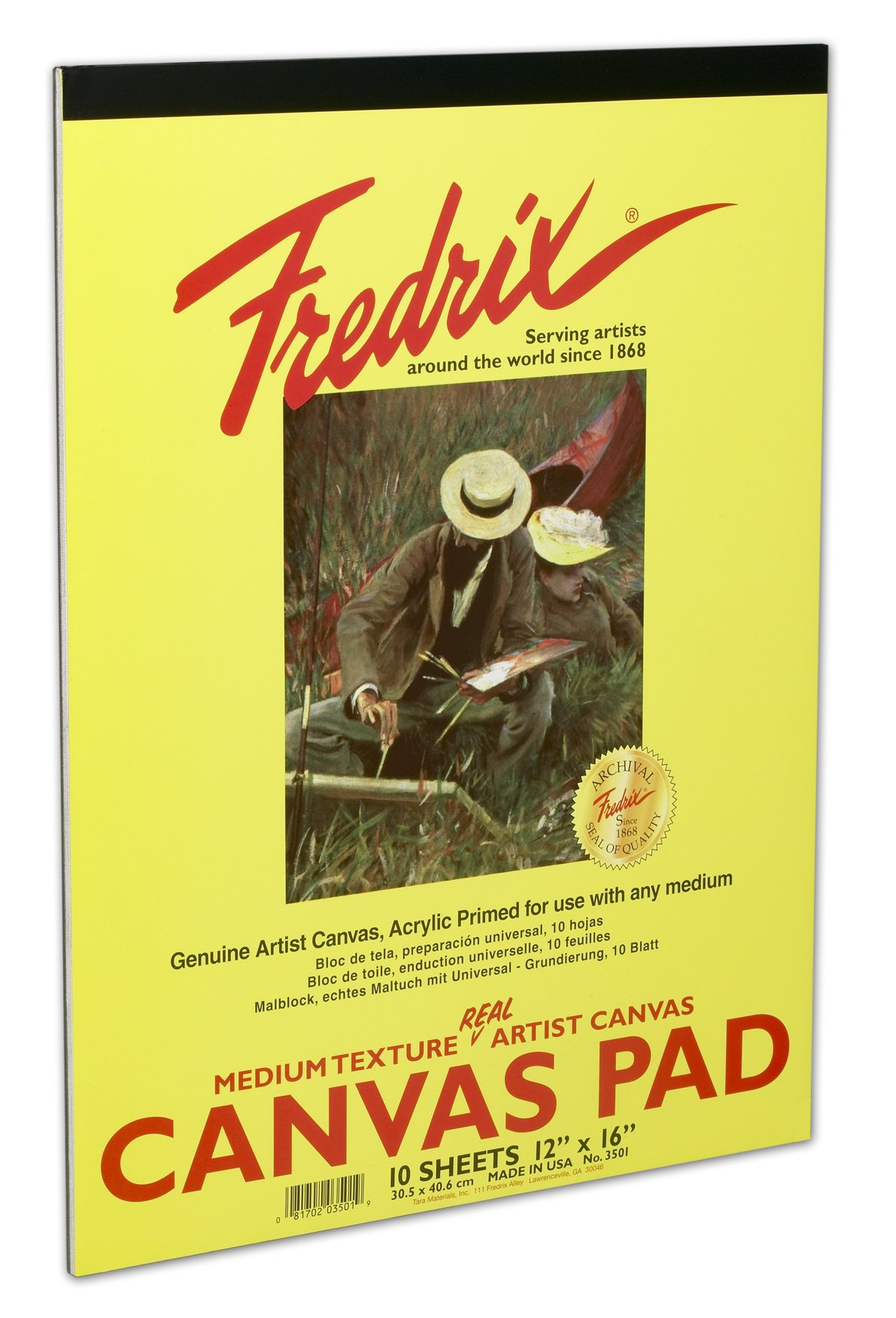 Fredrix 3503 White Canvas Pad, 18'' x 24'' White Canvas, Primed and Ready for use with Any Medium, Sturdy, Can be Mounted When Dry, 10 Sheets per Pad