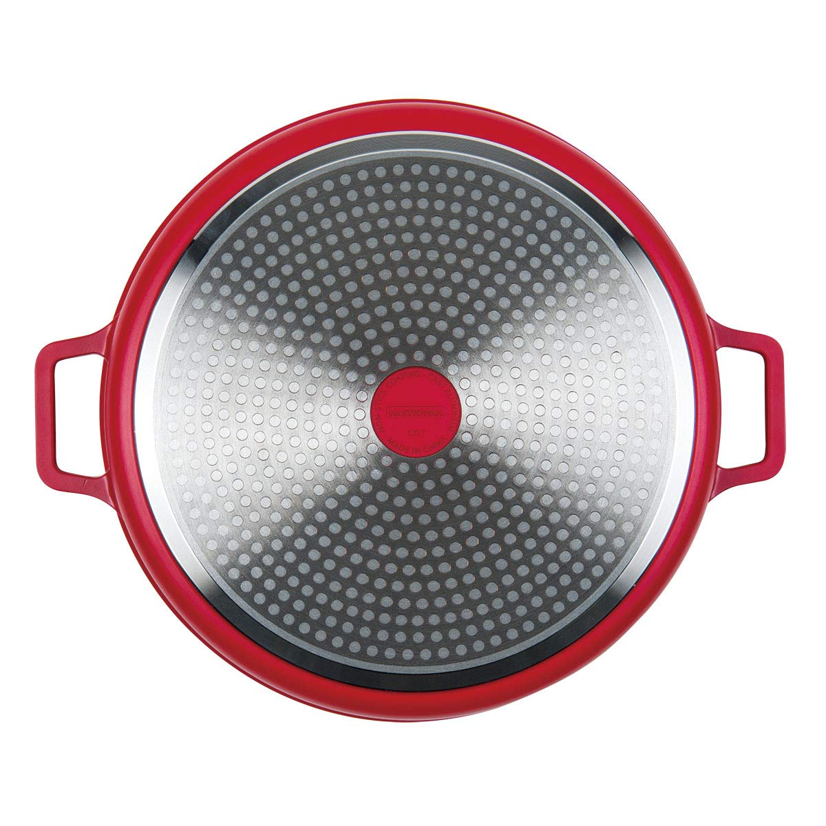 MasterPan Non-Stick Stovetop Oven Grill Pan with Heat-in Steam-Out Lid, nonstick cookware, 12'', Red, MP-106 by Master Pan (Image #4)