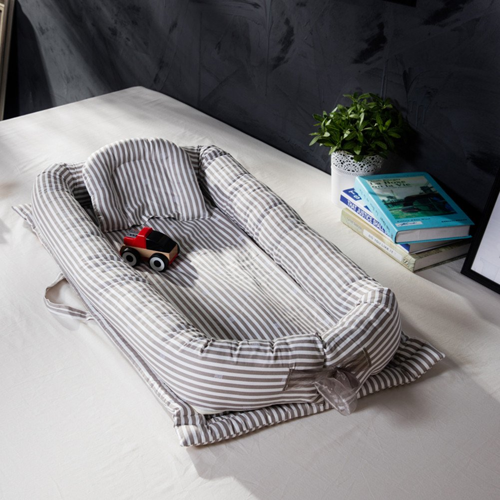 Levinis Baby Nest Bed Grey Striped Sleep Co Pod Newborn Cocoon Snuggle Bed- 100% Cotton Baby Bed - Breathable & Hypoallergenic Sleep Nest by Levinis
