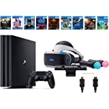 PlayStation VR Deluxe Bundle 12 Items:VR Start Bundle,PS4 Pro 1TB,8 VR Game Disc Rush of Blood,Valkyrie,Battlezone…
