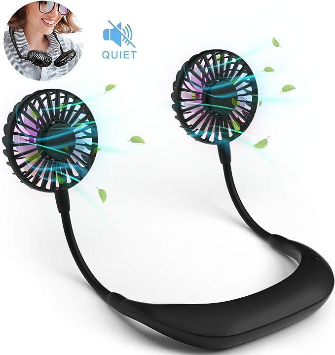 Ventilador portátil, Manos libres ventilador de cuello Luz LED, ventilador personal de banda para el cuello para cocina, jardinería, USB recargable, flujo de aire ...