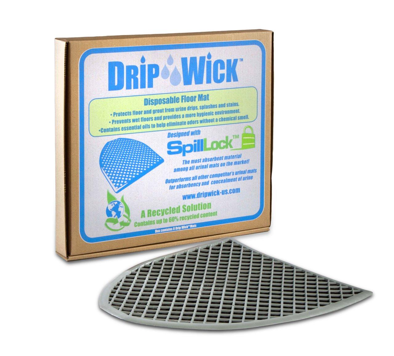 ESP DRIPB Drip-Wick Universal Disposable Absorbent Urinal Floor Mat, 20'' Length x 16'' Width, Black (Pack of 6) by ESP
