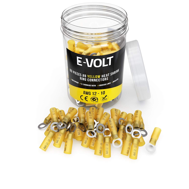 E-VOLT 80 PC Yellow Heat Shrink Ring Crimp Connectors: Sizes: #10, 1/4'', 5/16'', 3/8''. Gauge 12 10 Bulk Electrical Terminals - Insulated 12-10 AWG Automotive, Marine, Audio, Industrial (80 PCS, 8) by E-VOLT