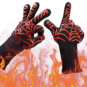 """BBQ Grilling Gloves, 1472°F Heat Resistant Grill Gloves, Barbeque/Barbecue Gloves for Smoker, 13"""" Extreme Kitchen Cooking Oven Mitts, Silicone Non-Slip Cooking Hot Glove for Welding, Baking, 1 Pair"""