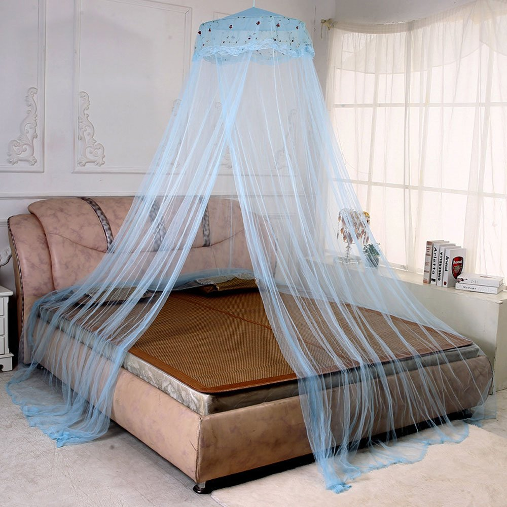 RuiHome Twin Full Queen Bed Hanging Mosquito Net Dome Lace Canopy with Hooked Screw, White Netting H-06