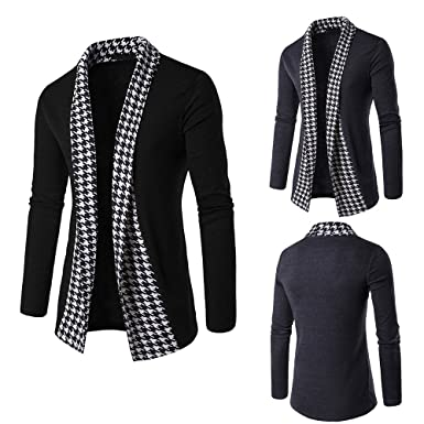 Realdo Mens Patchwork Cardigan Outwear Tops, Formal Casual Slim Long Sleeve Fold Coat(Black