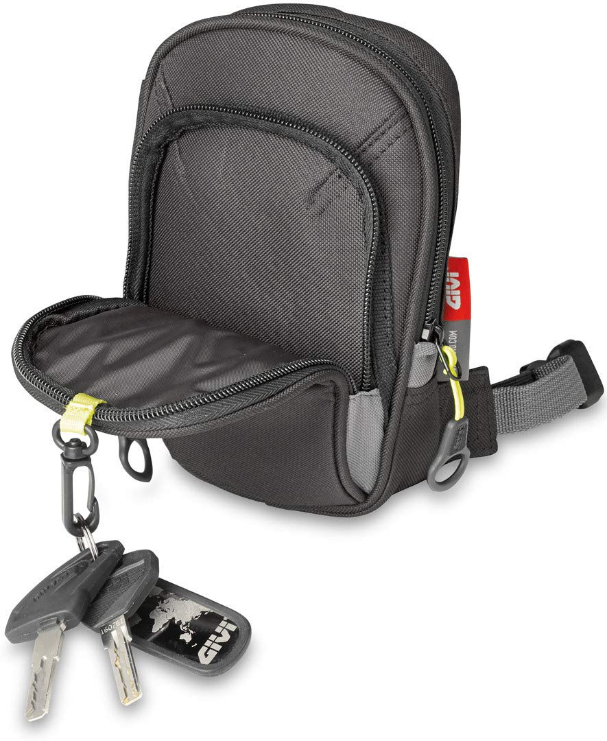 Volumen 1 Litro Carga M/áxima 1 Kg Givi EA109B Easy Bag Bolsillo de Pierna Negro con Dos Ranuras