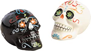 World Market Ceramic Salt and Pepper Shakers Set - Skull Day of the Dead Los Muertos - Spices Dispenser - Perfect for your Favorite Pepper, Kosher, and Himalayan Salts, Set of 2, Black and White