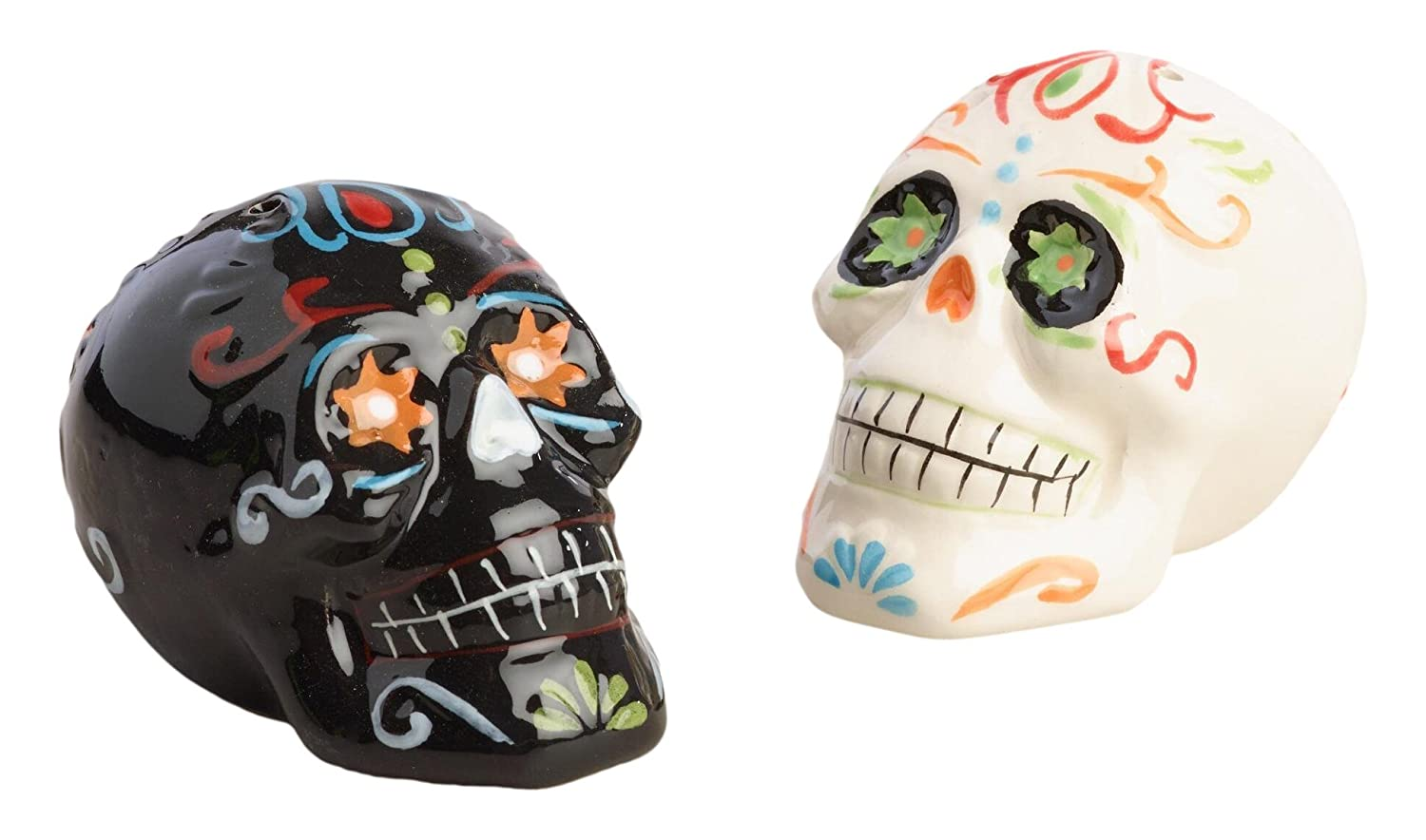 and Himalayan Salts Spices Dispenser Skull Day of the Dead Los Muertos Perfect for your Favorite Pepper World Market Ceramic Salt and Pepper Shakers Set Black /& White WM B01M9F3DT4 Set of 2 Kosher