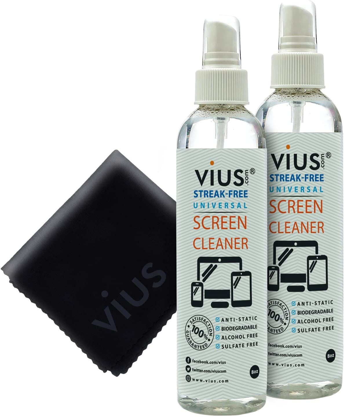 Screen Cleaner – vius Premium Screen Cleaner Spray for LCD LED TVs, Laptops, Tablets, Monitors, Phones, and Other Electronic Screens - Gently Cleans Fingerprints, Dust, Oil (8oz 2-Pack)