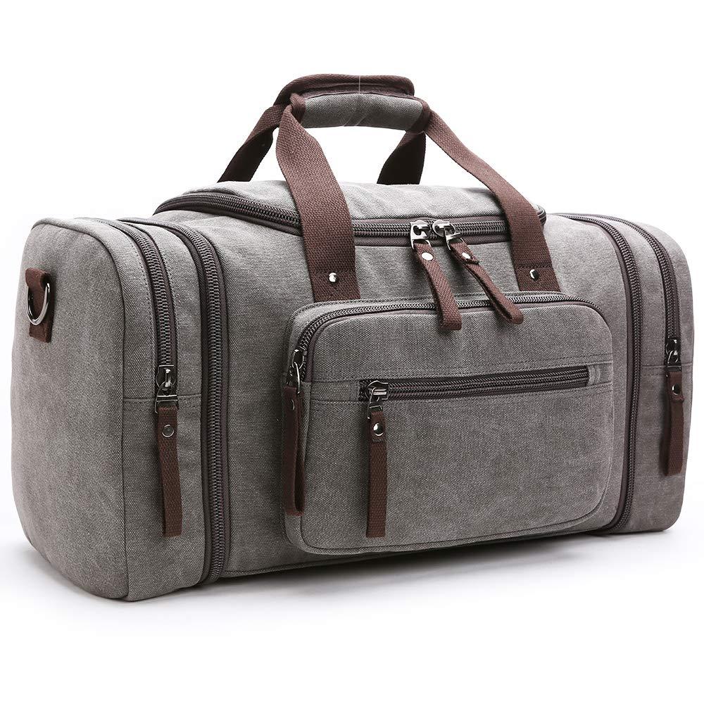 Oflamn Unisex's Canvas Duffel Bag Oversized Weekender Travel Tote Luggage Bag