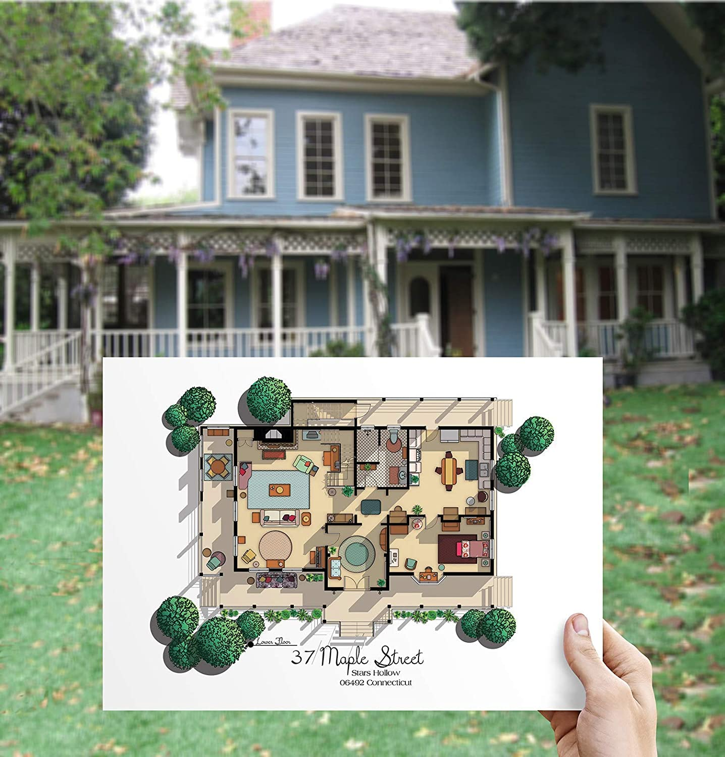 Amazon Com Gilmore Girls House Floor Plan Lorelai And Rory S House Layout Gilmore Girls Poster Gift For Gilmore Girls Fan Gilmore Girls Print Ground Floor Plan With Rory S Room Handmade